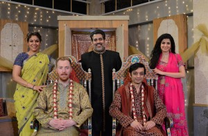 (clockwise from top left)  Alka Nayyar, Kamal J. Hans, Suzan Faycurry, Kaiser Ahmed and Riley McIlveen star in Rasaka Theatre's A Nice Indian Boy at Victory Gardens Theater
