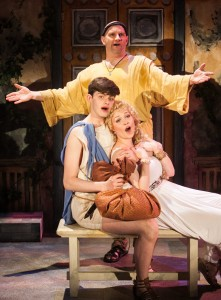 Bill Larkin, Sarah Lynn Robinson and Miles Blum in A FUNNY THING HAPPENED ON THE WAY TO THE FORUM.