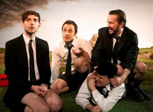 Lane Flores, Dan Behrendt, John Wilson and Layne Manzer in Mary-Arrchie Theatre Co.'s production of OUR BAD MAGNET by Douglas Maxwell, directed by Carlo Lorenzo Garcia. Photo by Ashley Rose.