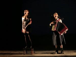 Maria Bosque and Daniela Mandoki sing. Photo by Jonathan Slaff.
