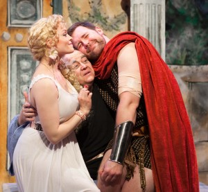 Sarah Lynn Robinson, Anthony Whitaker and Greg Zawada in A FUNNY THING HAPPENED ON THE WAY TO THE FORUM.