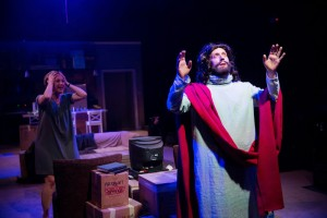 Steven Strafford as Jesus (foreground) with Tina Gluschenko as Sylvia Stein in END DAYS. Photo by Justin Barbin.