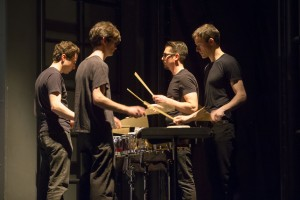 Third Coast Percussion performing DRUMMING PART I by Steve Reich for Hubbard Street's performances of Falling Angels by Jiří Kylián. Photo by Todd Rosenberg.