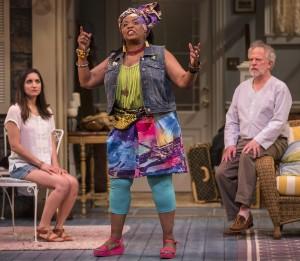 Rebecca Buller (Nina), E. Faye Butler (Cassandra) and Ross Lehman (Vanya) in Vanya and Sonia and Masha and Spike by Christopher Durang, directed by Steve Scott at Goodman Theatre.