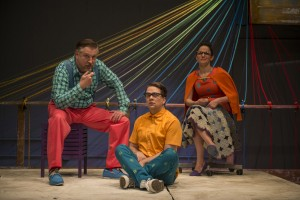 Ben Werling, Kevin Viol and Cruz Gonzalez-Cadel  in Shattered Globe Theatre's Chicago premiere of THE GROWN-UP by Jordan Harrison, directed by Krissy Vanderwarker.  Photo by Michael Brosilow.