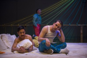 Bryan Bosque, Ben Werling (back) and Kevin Viol in Shattered Globe Theatre's Chicago premiere of THE GROWN-UP by Jordan Harrison, directed by Krissy Vanderwarker.  Photo by Michael Brosilow.