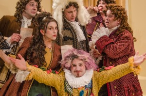Mike Mazzocca as De Brie, Marzena Bukowska as Catherine, Casey Chapman as Bejart, Skye Fort as Madeline, Bill Gordon as Du Parc, and Kevin Cox as Valere (in front).