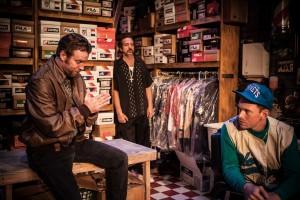 Jeffrey Johnson, Robert Maffia and Sam Boeck in Vs. Theatre Company's production of GUS'S FASHIONS AND SHOES. Photo by Azul DelGrasso.