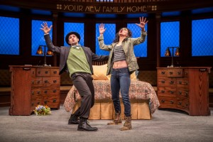 John Stokvis (Kaz) and Alejandra Escalante (Rebecca Oaxaca) in The Upstairs Concierge by Kristoffer Diaz, directed by KJ Sanchez at Goodman Theatre.