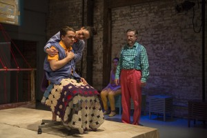 Kevin Viol, Cruz Gonzalez-Cadel, Christina Gorman and Ben Werling in Shattered Globe Theatre's Chicago premiere of THE GROWN-UP by Jordan Harrison, directed by Krissy Vanderwarker.  Photo by Michael Brosilow.