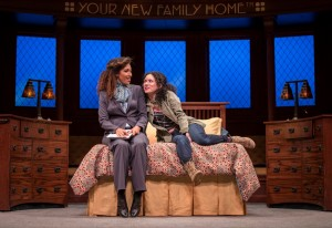 Tawny Newsome (Ella Elizondo) and Alejandra Escalante (Rebecca Oaxaca) in The Upstairs Concierge by Kristoffer Diaz, directed by KJ Sanchez at Goodman Theatre.