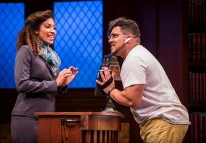 Tawny Newsome (Ella Elizondo) and José Antonio Garcia (BB) in The Upstairs Concierge by Kristoffer Diaz, directed by KJ Sanchez at Goodman Theatre.