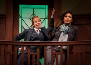 Theo Allyn (Mark Merriman) and Tawny Newsome (Ella Elizondo) in The Upstairs Concierge by Kristoffer Diaz, directed by KJ Sanchez at Goodman Theatre.