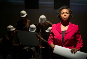 Eunice Woods (right) and the ensemble of American Theater Company's world premiere documentary play THE PROJECT(S). Photo by Michael Brosilow.