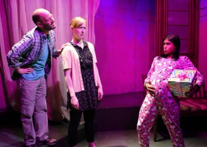 James McHale, Jennifer Ruckman and Anisha Adusumilli in SAMSARA at The Chance Theater.