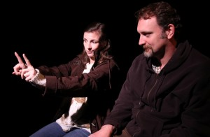 Katie Pelensky, Tim Cummings in Coeurage Theatre Company's production of THE WOODSMAN.