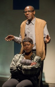 Kenn E. Head (top) and Anji White in American Theater Company's world premiere documentary play THE PROJECT(S). Photo by Michael Brosilow.
