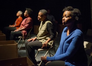Linda Bright Clay, Joslyn Jones, Penelope Walker and Eunice Woods in American Theater Company's world premiere documentary play THE PROJECT(S). Photo by Michael Brosilow.