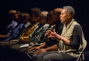 Penelope Walker (right) and the ensemble of American Theater Company's world premiere documentary play THE PROJECT(S). Photo by Michael Brosilow.