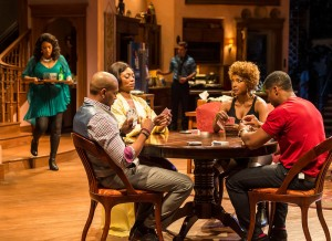 "L-R: Cynda Williams (behind), Bryan Terrell Clark, Shanésia Davis, Mark Jude Sullivan (behind), J. Nicole Brooks and Kamal Angelo Bolden in Paul Oakley Stovall's ""Immediate Family,"" directed by Phylicia Rashad"