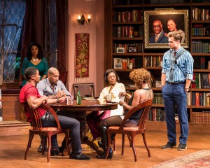 "Kamal Angelo Bolden, Cynda Williams (behind), Bryan Terrell Clark, Shanésia Davis, J. Nicole Brooks and Mark Jude Sullivan in Paul Oakley Stovall's ""Immediate Family,"" directed by Phylicia Rashad."