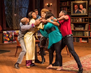 "Bryan Terrell Clark, Shanésia Davis, Mark Jude Sullivan (behind), J. Nicole Brooks, Cynda Williams and Kamal Angelo Bolden in Paul Oakley Stovall's ""Immediate Family,"" directed by Phylicia Rashad."