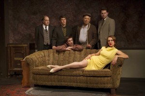 Anthony Foux, Jason Downs, Jude Ciccolella, Trent Dawson, and Lesley Fera in Pacific Resident Theatre's THE HOMECOMING.
