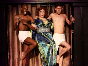 TJ Crawford, Caitlin Jackson and Will Wilhelm in Hell in a Handbag's BETTE, LIVE AT THE CONTINENTAL BATHS, a musical tribute to the Divine Miss M's legendary NYC concert, directed and choreographed by Christopher Pazdernik with music direction by Jeremy Ramey. Photo by Rick Aguilar Studios.