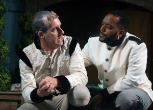 Kevin McKillip as Leontes and Kyle Haden as Camillo star in First Folio Theatre's production of The Winter's Tale.