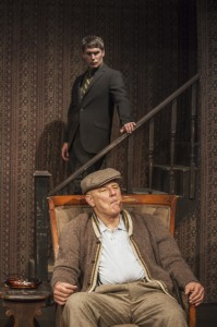 Jude Ciccolella (in chair) and Jason Downs in Pacific Resident Theatre's THE HOMECOMING.