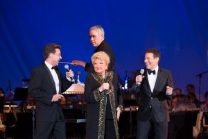 Michael Andrew, Marilyn Maye, Michael Feinstein and Larry Blank (conductor) in BIG BAND SWING! with the Pasadena POPS.