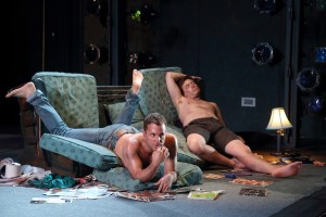 Peter Tantsits (Pat) and Michael Marcotte (Elliott) in a scene from DOG DAYS, presented by LA Opera at REDCAT.