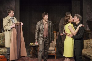 Trent Dawson, Steve Spiro, Lesley Fera, and Jason Downs in Pacific Resident Theatre's THE HOMECOMING.