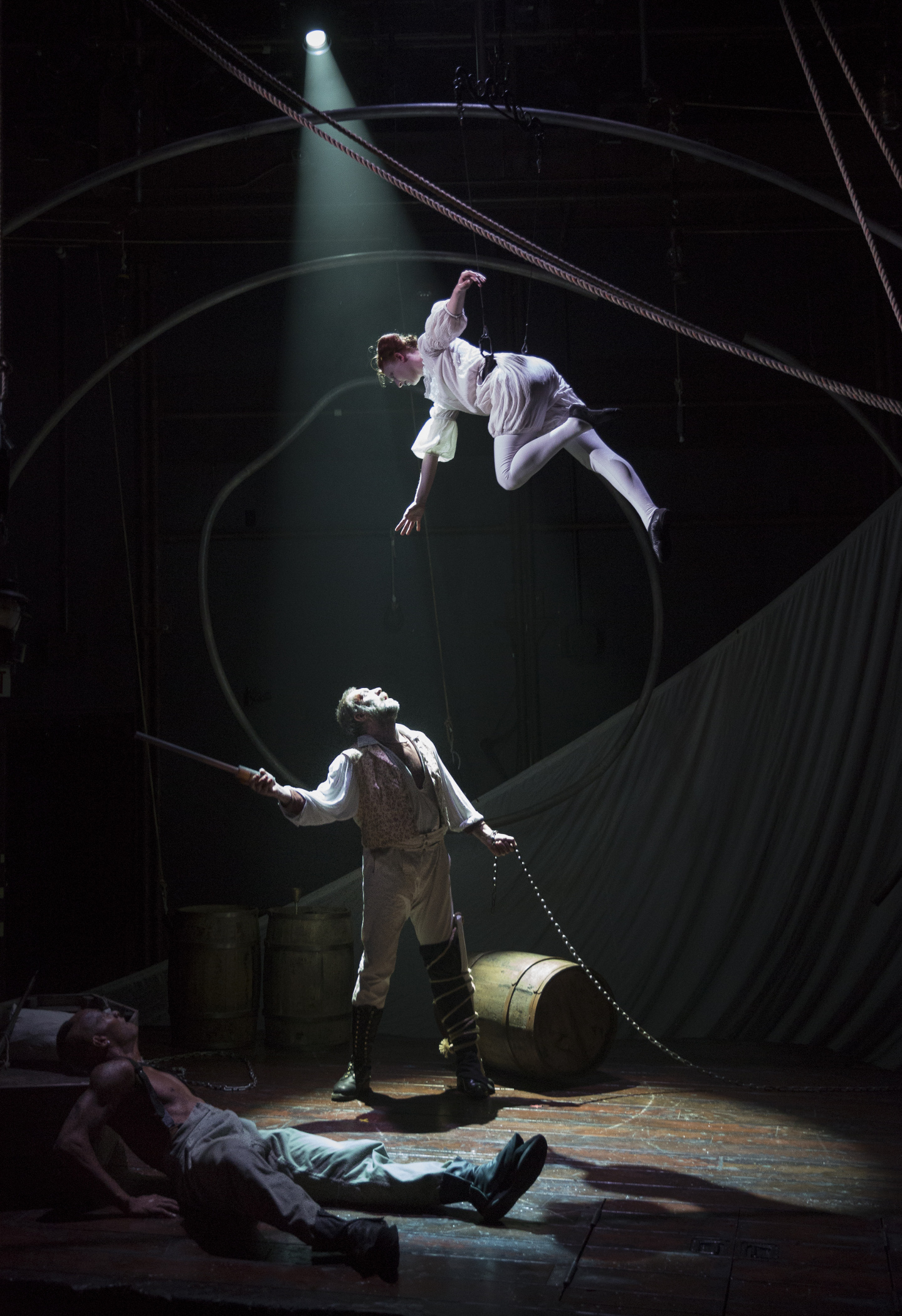 theater review moby dick lookingglass theatre company in chicago top to bottom emma cadd christopher donahue anthony fleming iii moby dick