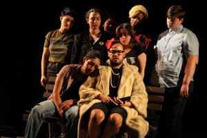 (front, left to right) Liam Camarillo and Donny Acosta with (back, left to right) Jac Spertus, Elena Maria Cohen, Sandy Nguyen, Amira Epshetsky, Jasmine Smith and Elliot Hobaugh in About Face Youth Theatre Ensemble's world premiere of 15 BREATHS, directed by Ali Hoefnagel.  Photo by Emily Schwartz.