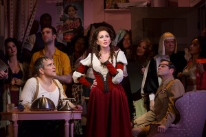 Mike McGowan as Petruchio, Anastasia Barzee as Kate, and the cast in the Hartford Stage-Old Globe co-production of KISS ME, KATE.