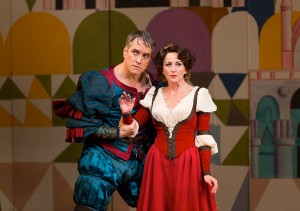 Mike McGowan as Petruchio and Anastasia Barzee as Kate in the Hartford Stage-Old Globe co-production of KISS ME, KATE.
