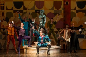 Mike McGowan as Petruchio (center) and the cast of the Hartford Stage-Old Globe co-production of KISS ME, KATE.