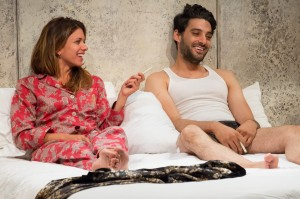 Alia Attallah and Karan Oberoi in THREESOME, part of the 5A Season  at 59E59 Theaters. Photo by Hunter Canning