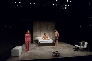 Alia Attallah, Quinn Franzen and Karan Oberoi in THREESOME, part of  the 5A Season at 59E59 Theaters. Photo by Hunter Canning