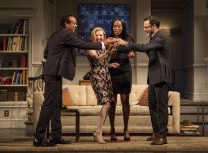 Bernard White (Amir), Nisi Sturgis (Emily), Zakiya Young (Jory) and J. Anthony Crane (Isaac) in Disgraced by Ayad Akhtar, directed by Kimberly Senior at Goodman Theatre