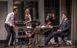 Bernard White (Amir), Nisi Sturgis (Emily), Zakiya Young (Jory) and J. Anthony Crane (Isaac) in Disgraced by Ayad Akhtar, directed by Kimberly Senior at Goodman Theatre.