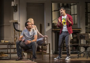 Bernard White (Amir), Nisi Sturgis (Emily) and Behzad Dabu (Abe) in Disgraced by Ayad Akhtar, directed by Kimberly Senior at Goodman Theatre
