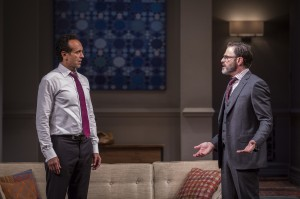 Bernard White (Amir) and J. Anthony Crane (Isaac) in Disgraced by Ayad Akhtar, directed by Kimberly Senior at Goodman Theatre