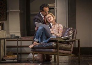 Bernard White (Amir) and Nisi Sturgis (Emily) in Disgraced by Ayad Akhtar, directed by Kimberly Senior at Goodman Theatre (September 12 – October 18, 2015).
