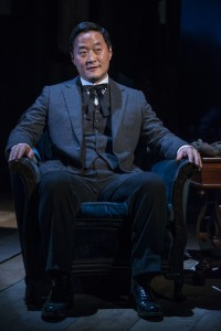 Stephen Park (Lee) advises the Trask family in Steppenwolf Theatre Company's production of John Steinbeck's East of Eden, a world premiere adapted by ensemble member Frank Galati and directed by co-founder Terry Kinney.