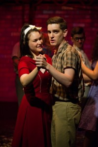 Emily Goldberg plays Rose and Garrett Lutz plays Birdlace in the BoHo Theatre production of DOGFIGHT. Photo by Amy Boyle.