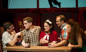 Nick Graffagna (from left), Garrett Lutz, Emily Goldberg and Matt Frye star in the BoHo Theatre production of DOGFIGHT. Photo by Amy Boyle.
