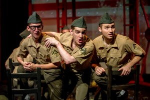 Nick Graffagna (from left), Garrett Lutz and Matt Frye in the BoHo Theatre production of DOGFIGHT. Photo by Amy Boyle.