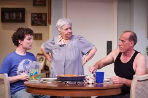 Nick Marini, Joanna Lipari, and Alex Fernandez in LUKA'S ROOM at Rogue Machine Theatre.
